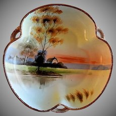 Nippon Moriage Hand Painted Tri-Fold Bowl w/Country Lake Side Motif