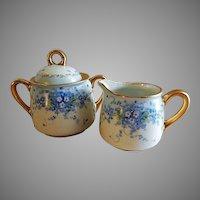 "Luken Studio Hand Painted Porcelain ""Forget-Me-Not"" Sugar & Creamer Set"