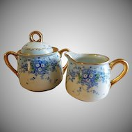 "Luken Studio Hand Painted Porcelain ""Forget-Me-Not"" Sugar & Creamer Set"
