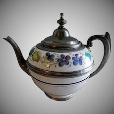 Manning & Bowman Pewter Trimmed Enameled Granite-Ware Coffee Pot