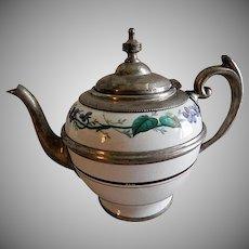 Manning & Bowman Pewter Trimmed Enameled Granite-Ware Teapot
