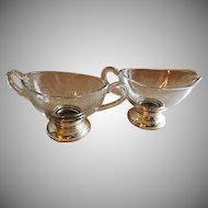 Clear Crystal Sugar & Creamer Set w/ Web Sterling Silver Bases