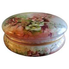 T&V Limoges Hand Painted Dresser/Vanity Box w/Wild Rose Blossoms Motif