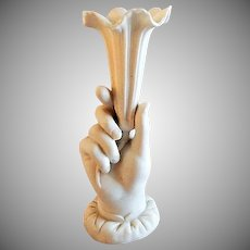 Victorian Parian-Ware Vase - Hand Holding a Trumpet-Shaped Blossom