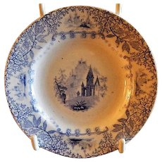 Staffordshire Blue Transfer-Ware Cup Plate w/County Manors, Mountains & Floral Motif