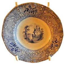 """Staffordshire Blue Transfer-Ware Cup Plate -  Davenport Ironstone """"Friburg"""" Pattern"""
