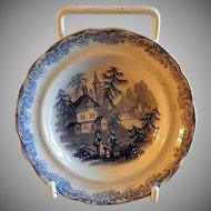 Staffordshire Blue Transfer-Ware Cup Plate w/County Manors, Formal Garden & People Motif