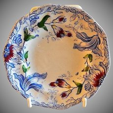 Staffordshire Polychome Transfer-Ware Cup Plate w/Floral Motif