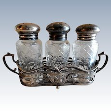 Wilcox Sterling Silver & Cut Glass Combination - Salt, Pepper & Spice Shakers w/Holder