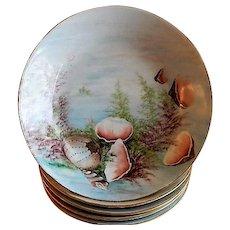 Charles Haviland Hand Painted Soup Bowls w/Sea-Life Motif - Set of 5