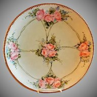 Jean Pouyat (JPL) Limoges Hand Painted Charger Plate w/Pink Rose Blossoms Motif