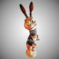 German Paper Mache Bobble Head Rabbit Playing a Banjo - Circa 1930