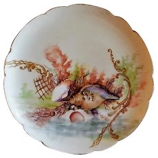 Charles Haviland & Co. Hand Painted Cabinet Plate w/Seascape Motif - #6 of 8 Plates