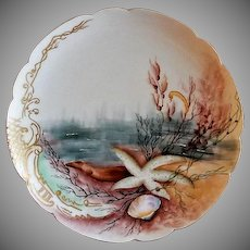 Charles Haviland & Co. Hand Painted Cabinet Plate w/Seascape Motif - #7 of 8 Plates