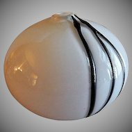 Mid-Century Modern Pilgrim Glass Company Vase - White w/Black Threading
