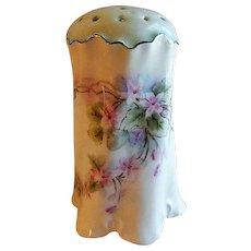 Hand Painted Porcelain Sugar Shaker/Muffineer w/Violets Motif