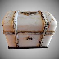 "Milk Glass Figural ""Steamer Trunk"" Candy Container"