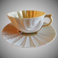 "Irish Belleek ""Neptune"" Pattern Cup & Saucer - 2nd Green Mark"