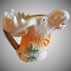 """Czechoslovakia """"Moose Head"""" Figural Cream Pitcher"""