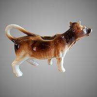"Czechoslovakia ""Brown & White"" Cow Figural Cream Pitcher"