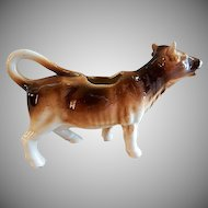 "Czechoslovakia ""Brown & White"" Cow Figural Cream Pitcher"