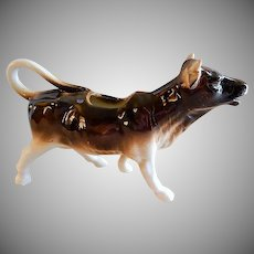 "Czechoslovakia ""Dark Brown & White"" Large Cow Figural Cream Pitcher"