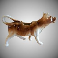 """Czechoslovakia """"Light Brown & White"""" Large Cow Figural Cream Pitcher"""