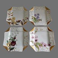 "Set of 4 Haviland & Co Limoges ""Napkin Fold"" H.P. Floral Dessert Plates, Circa 1880's"