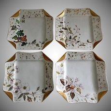 """Set of 4 Haviland & Co Limoges """"Napkin Fold"""" H.P. Floral & Fruit Dessert Plates, Circa 1880's"""
