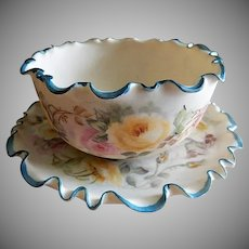 Ceramic Arts Company Belleek Hand Painted Bowl & Under-plate w/ Roses Motif
