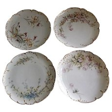 Set of 4 Charles Haviland & Co. Hand Painted Luncheon w/Floral Motifs