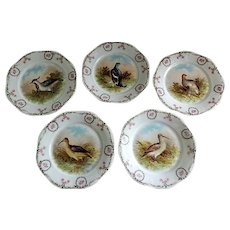 "Set of 5 -  Z & S Co. Bavaria ""Bird"" Transfer Decorated Game Plates"