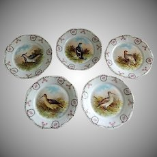 """Set of 5 -  Z & S Co. Bavaria """"Bird"""" Transfer Decorated Game Plates"""