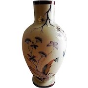 Bristol Glass Victorian Hand Painted Vase w/Floral & Butterfly Motif
