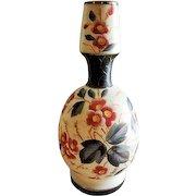 Bristol Glass Victorian Hand Painted Vase w/Floral Motif