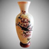 Bristol Glass Victorian Hand Painted Vase w/Floral & Bird Motif