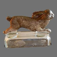 """Vintage """"Rabbit Running On A Log"""" Figural Glass Candy Container"""