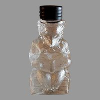 """Vintage Theodore Roosevelt """"Teddy Bear Reading A Book"""" Figural Glass Candy Container"""