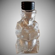 "Vintage Theodore Roosevelt ""Teddy Bear Reading A Book"" Figural Glass Candy Container"