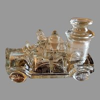 """Vintage """"Pumper Fire Truck"""" Figural Glass Candy Container - Victory Glass Company"""