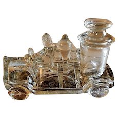 "Vintage ""Pumper Fire Truck"" Figural Glass Candy Container - Victory Glass Company"