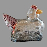"""Vintage """"Chicken On A Nest"""" Figural Glass Candy Container"""