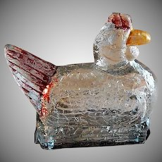 "Vintage ""Chicken On A Nest"" Figural Glass Candy Container"