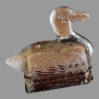 """Vintage """"Duck On A Nest"""" Figural Glass Candy Container"""