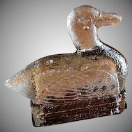 "Vintage ""Duck On A Nest"" Figural Glass Candy Container"