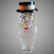 Vintage Figural Glass Perfume Bottle - Man In Formal Attire & Straw Hat
