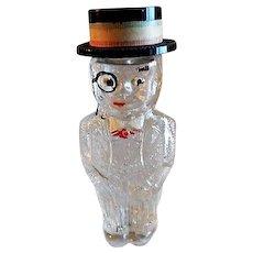 Vintage Figural Glass Perfume Bottle - Man In Formal Attire & Straw Hat
