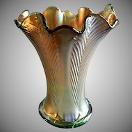 "Northwood Marigold Carnival on Green Glass ""Feathers"" Squatty Vase"