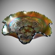 "Northwood Green Carnival ""Grape & Cable"" Spatula Footed Bowl"