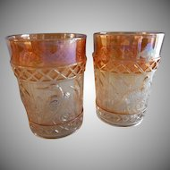 "Dugan/Diamond Marigold Carnival ""Stork & Rushes"" Pair of Tumblers"